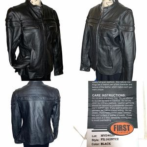 First Classics Black Leather Motorcycle Jacket Med
